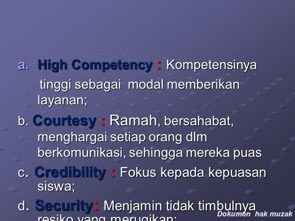 a.High Competency : Kompetensinya tinggi sebagai modal memberikan layanan; tinggi sebagai modal memberikan layanan; b.