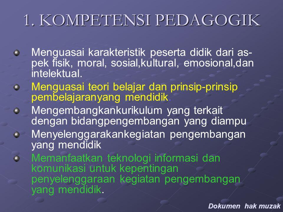 1. KOMPETENSI PEDAGOGIK Menguasai karakteristik peserta didik dari as- pek fisik, moral, sosial,kultural, emosional,dan intelektual. Menguasai teori b