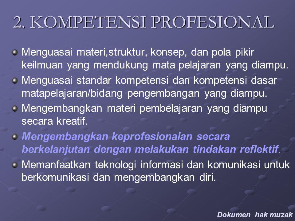 2. KOMPETENSI PROFESIONAL Menguasai materi,struktur, konsep, dan pola pikir keilmuan yang mendukung mata pelajaran yang diampu. Menguasai standar komp