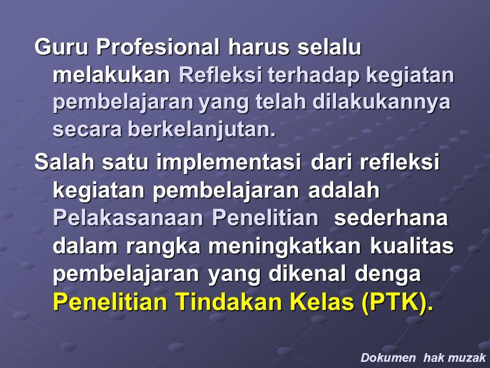 Guru Profesional harus selalu melakukan Refleksi terhadap kegiatan pembelajaran yang telah dilakukannya secara berkelanjutan.