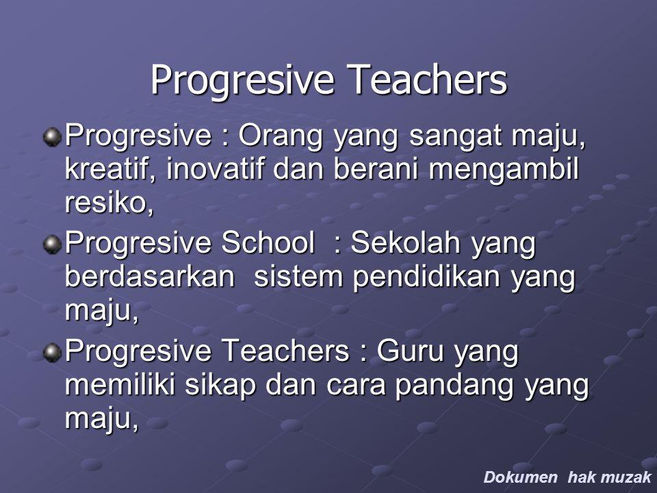 Progresive Teachers Progresive : Orang yang sangat maju, kreatif, inovatif dan berani mengambil resiko, Progresive School : Sekolah yang berdasarkan sistem pendidikan yang maju, Progresive Teachers : Guru yang memiliki sikap dan cara pandang yang maju, Dokumen hak muzak