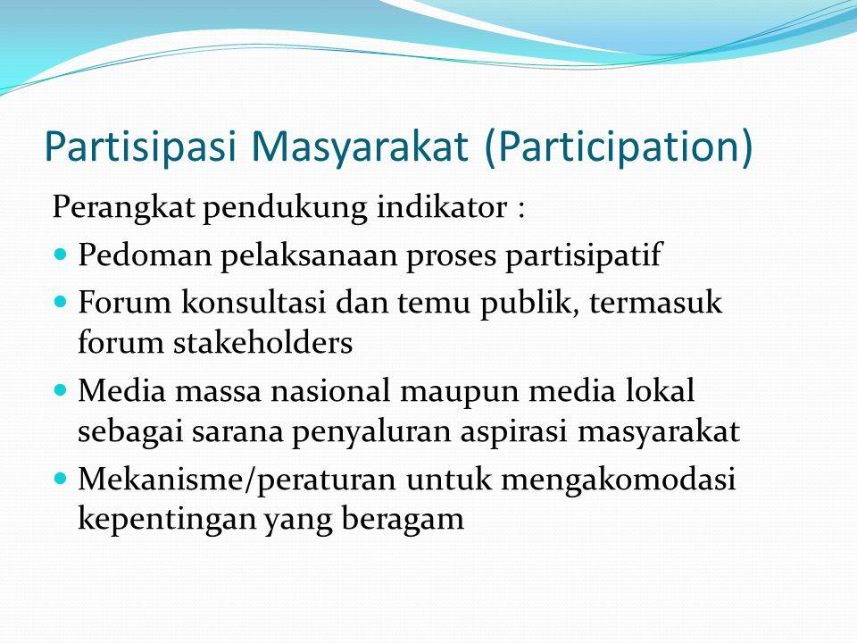 Partisipasi Masyarakat (Participation) Indikator minimal : Adanya pemahaman penyelenggara negara tentang proses/metode partisipatif Adanya pengambilan