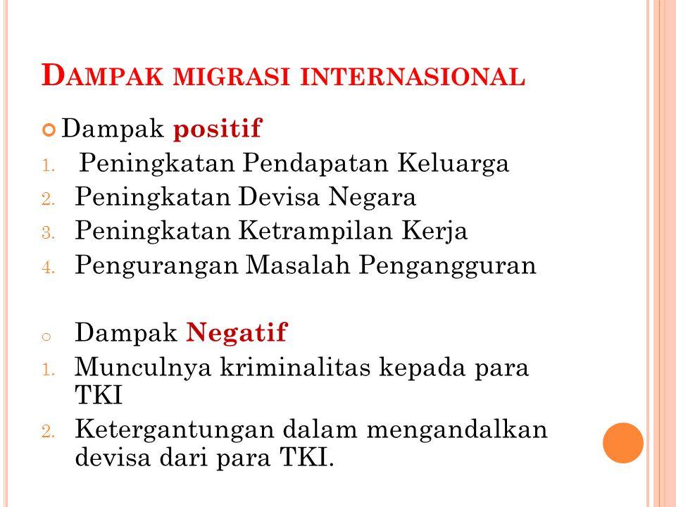 D AMPAK MIGRASI INTERNASIONAL Dampak positif 1. Peningkatan Pendapatan Keluarga 2.