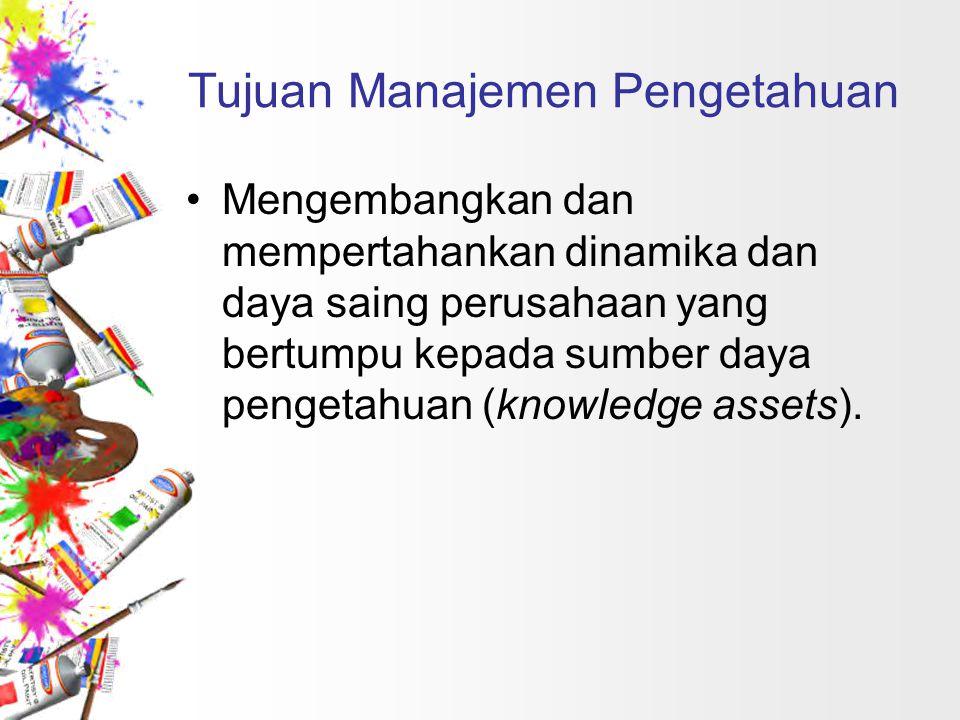Tujuan Manajemen Pengetahuan Mengembangkan dan mempertahankan dinamika dan daya saing perusahaan yang bertumpu kepada sumber daya pengetahuan (knowled