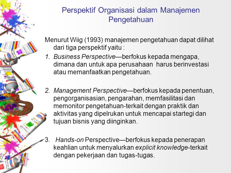 Perspektif Organisasi dalam Manajemen Pengetahuan Menurut Wiig (1993) manajemen pengetahuan dapat dilihat dari tiga perspektif yaitu : 1.Business Pers