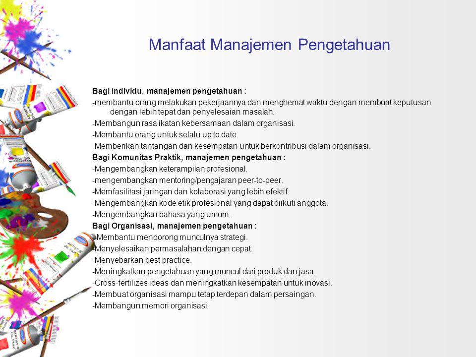 Manfaat Manajemen Pengetahuan Bagi Individu, manajemen pengetahuan : -membantu orang melakukan pekerjaannya dan menghemat waktu dengan membuat keputus