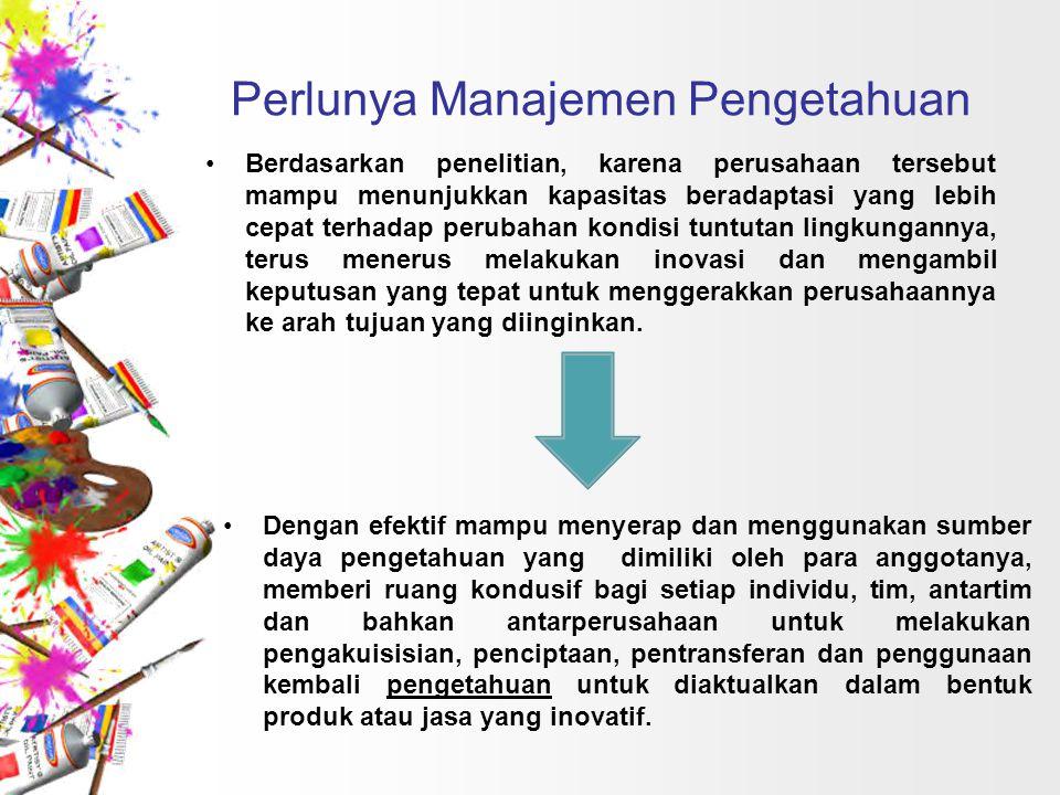 Perlunya Manajemen Pengetahuan Berdasarkan penelitian, karena perusahaan tersebut mampu menunjukkan kapasitas beradaptasi yang lebih cepat terhadap pe