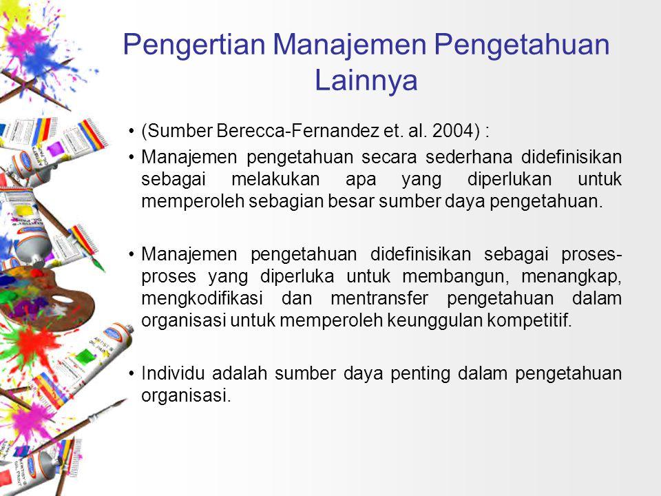 Pengertian Manajemen Pengetahuan Lainnya (Sumber Berecca-Fernandez et. al. 2004) : Manajemen pengetahuan secara sederhana didefinisikan sebagai melaku
