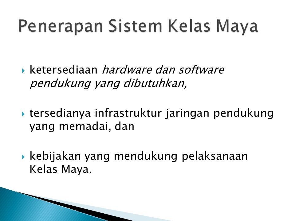  ketersediaan hardware dan software pendukung yang dibutuhkan,  tersedianya infrastruktur jaringan pendukung yang memadai, dan  kebijakan yang mendukung pelaksanaan Kelas Maya.