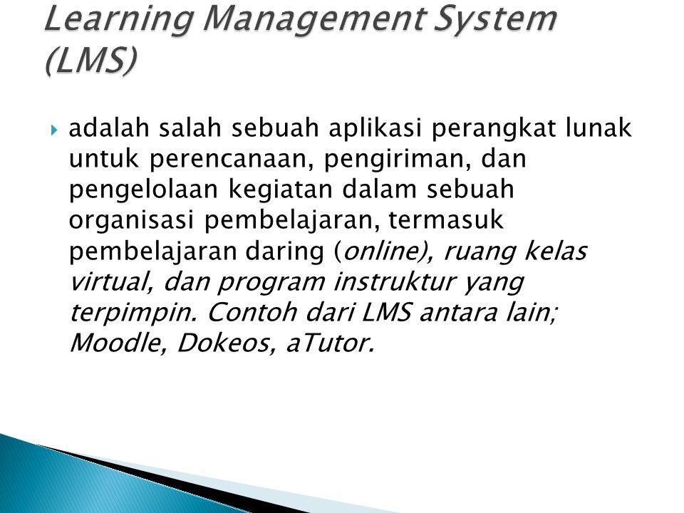  LCMS adalah sebuah aplikasi perangkat lunak untuk mengelola konten pembelajaran dalam berbagai bidang pelatihan dan pengembangan.