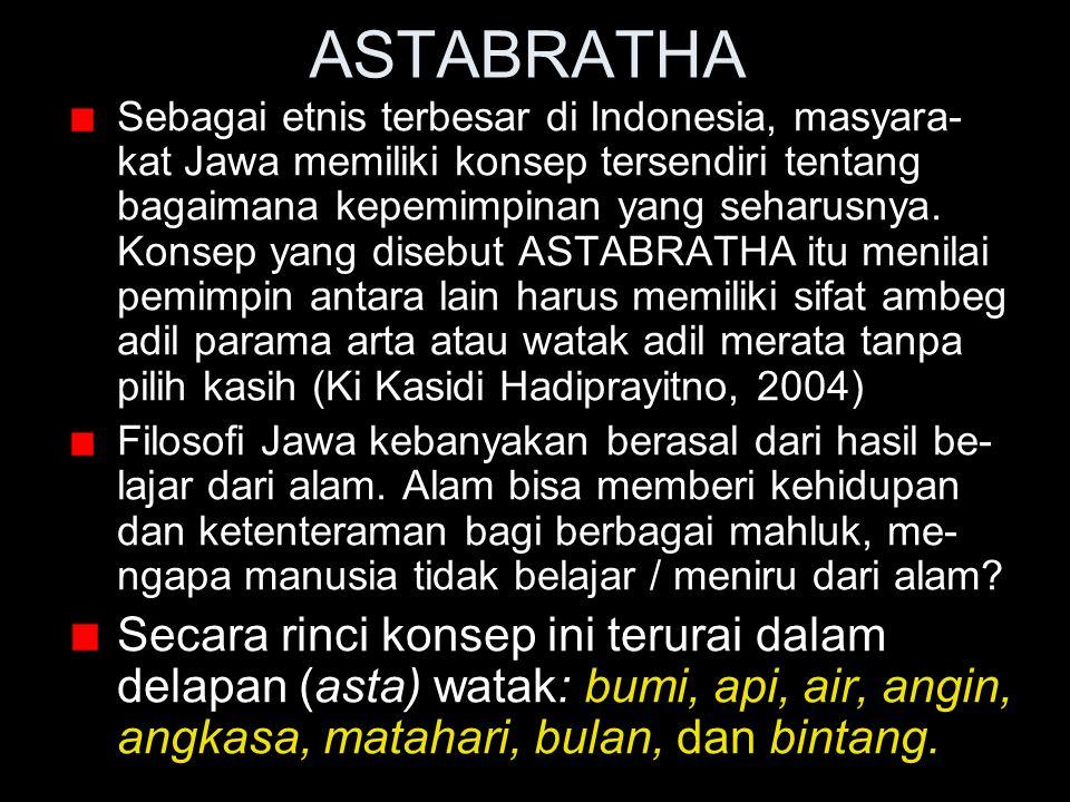 ASTABRATHA Sebagai etnis terbesar di Indonesia, masyara- kat Jawa memiliki konsep tersendiri tentang bagaimana kepemimpinan yang seharusnya. Konsep ya
