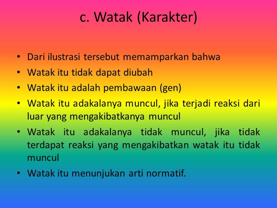 c. Watak (Karakter) Dari ilustrasi tersebut memamparkan bahwa Watak itu tidak dapat diubah Watak itu adalah pembawaan (gen) Watak itu adakalanya muncu