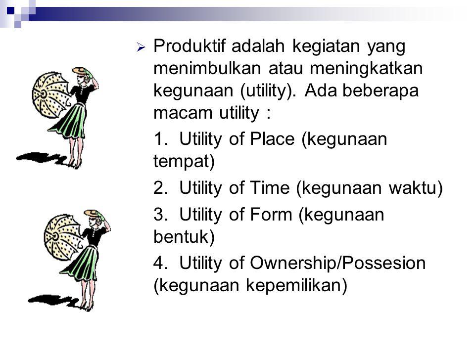  Produktif adalah kegiatan yang menimbulkan atau meningkatkan kegunaan (utility).
