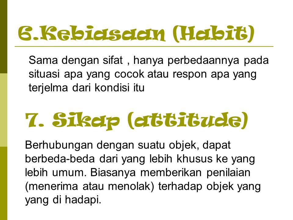 6.Kebiasaan (Habit) Sama dengan sifat, hanya perbedaannya pada situasi apa yang cocok atau respon apa yang terjelma dari kondisi itu 7. Sikap (attitud