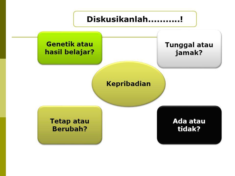 Kepribadian Tetap atau Berubah? Genetik atau hasil belajar? Tunggal atau jamak? Ada atau tidak? Diskusikanlah...........!