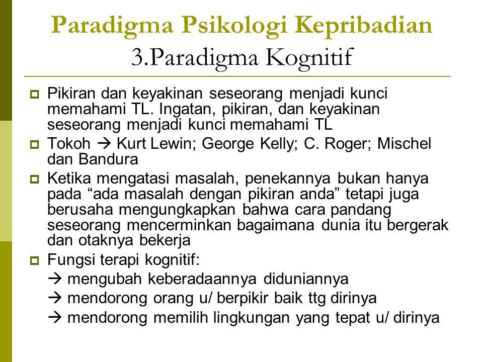 Paradigma Psikologi Kepribadian 3.Paradigma Kognitif  Pikiran dan keyakinan seseorang menjadi kunci memahami TL. Ingatan, pikiran, dan keyakinan sese