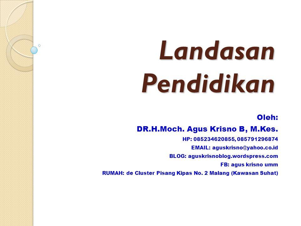 Landasan Pendidikan Oleh: DR.H.Moch.Agus Krisno B, M.Kes.