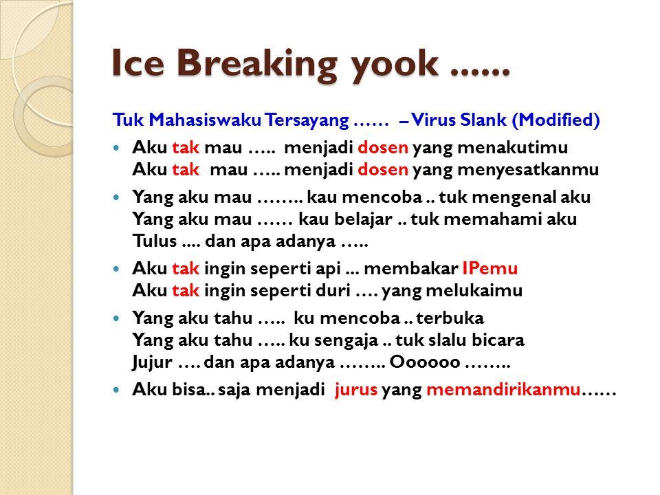 Ice Breaking yook...... Tuk Mahasiswaku Tersayang …… – Virus Slank (Modified) Aku tak mau …..