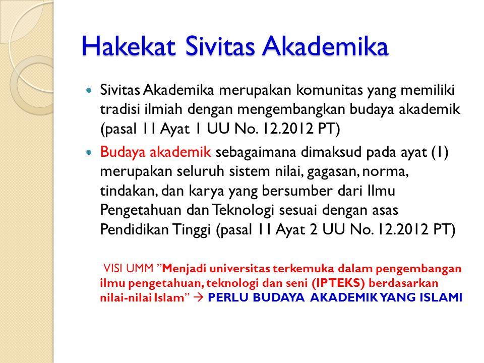 Hakekat Sivitas Akademika Sivitas Akademika merupakan komunitas yang memiliki tradisi ilmiah dengan mengembangkan budaya akademik (pasal 11 Ayat 1 UU No.