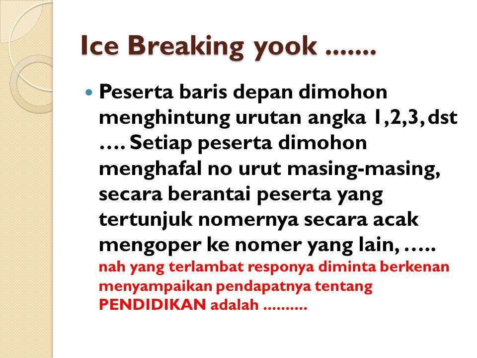 Ice Breaking yook....... Peserta baris depan dimohon menghintung urutan angka 1,2,3, dst ….