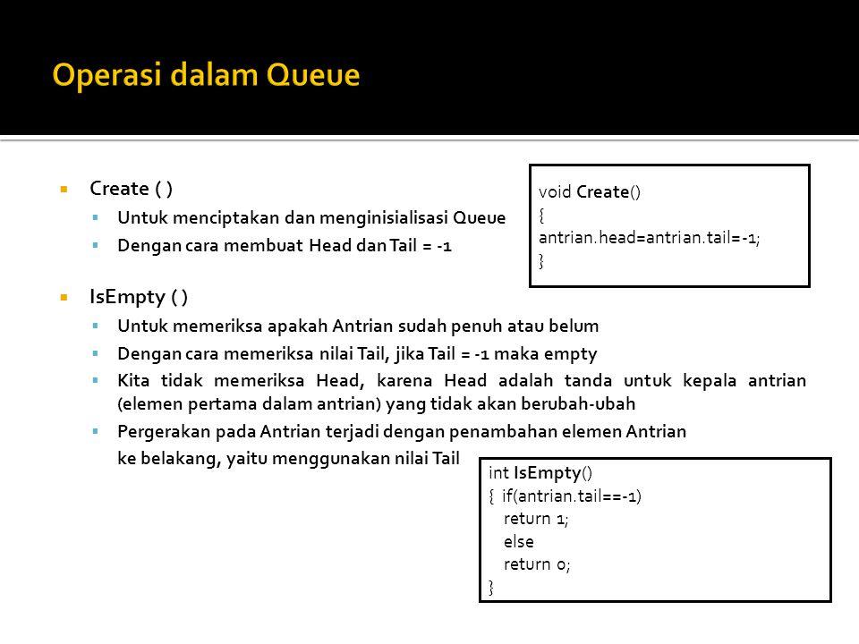  Create ( )  Untuk menciptakan dan menginisialisasi Queue  Dengan cara membuat Head dan Tail = -1  IsEmpty ( )  Untuk memeriksa apakah Antrian su