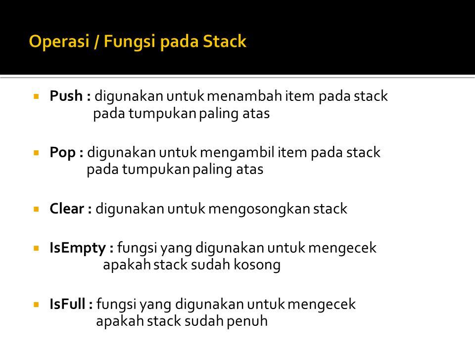  Push : digunakan untuk menambah item pada stack pada tumpukan paling atas  Pop : digunakan untuk mengambil item pada stack pada tumpukan paling ata