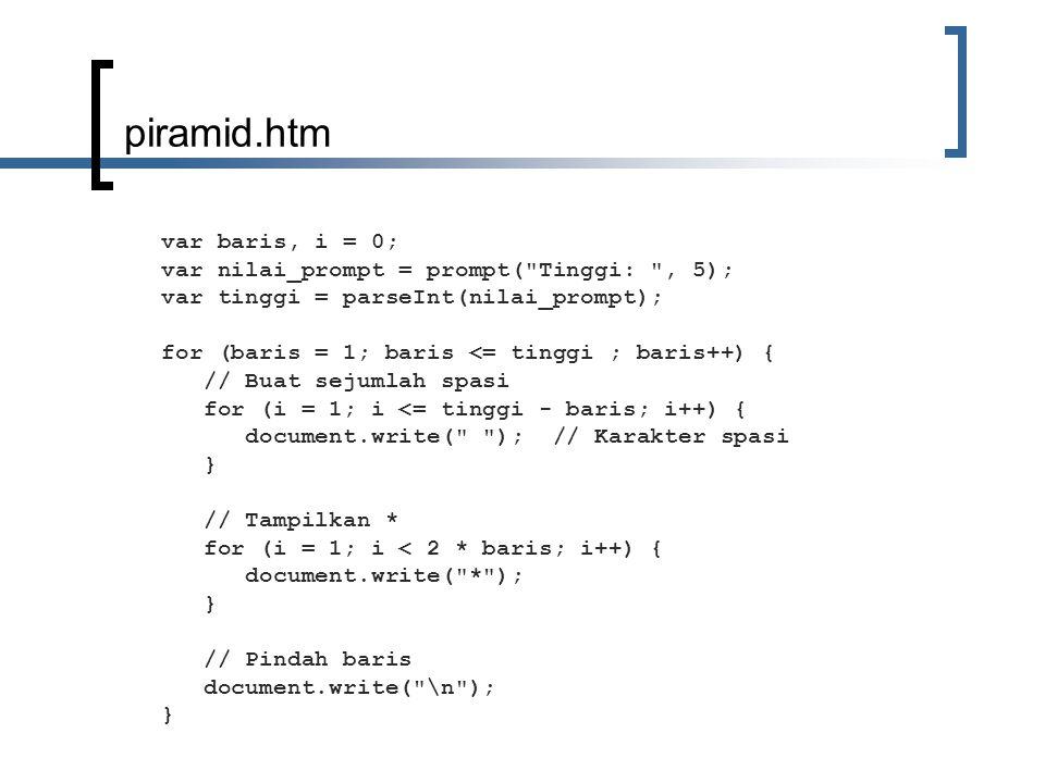 piramid.htm var baris, i = 0; var nilai_prompt = prompt( Tinggi: , 5); var tinggi = parseInt(nilai_prompt); for (baris = 1; baris <= tinggi ; baris++) { // Buat sejumlah spasi for (i = 1; i <= tinggi - baris; i++) { document.write( ); // Karakter spasi } // Tampilkan * for (i = 1; i < 2 * baris; i++) { document.write( * ); } // Pindah baris document.write( \n ); }
