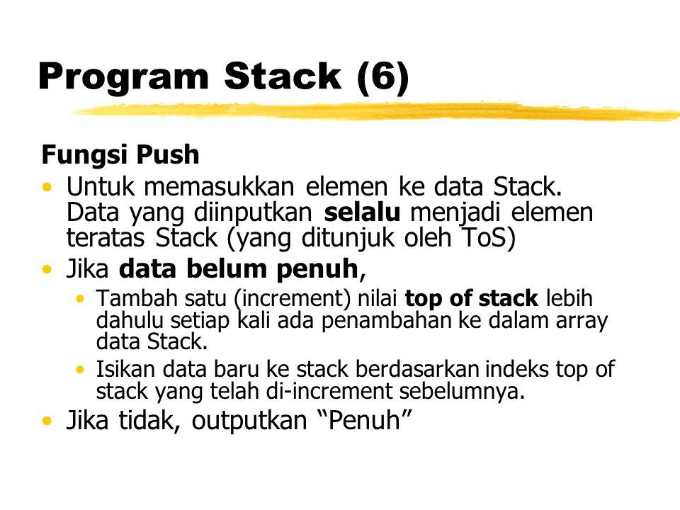 Program Stack (6) Fungsi Push Untuk memasukkan elemen ke data Stack. Data yang diinputkan selalu menjadi elemen teratas Stack (yang ditunjuk oleh ToS)