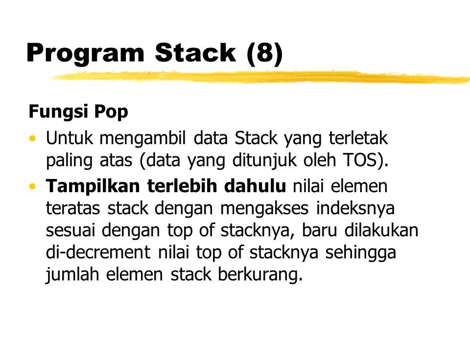 Program Stack (8) Fungsi Pop Untuk mengambil data Stack yang terletak paling atas (data yang ditunjuk oleh TOS). Tampilkan terlebih dahulu nilai eleme