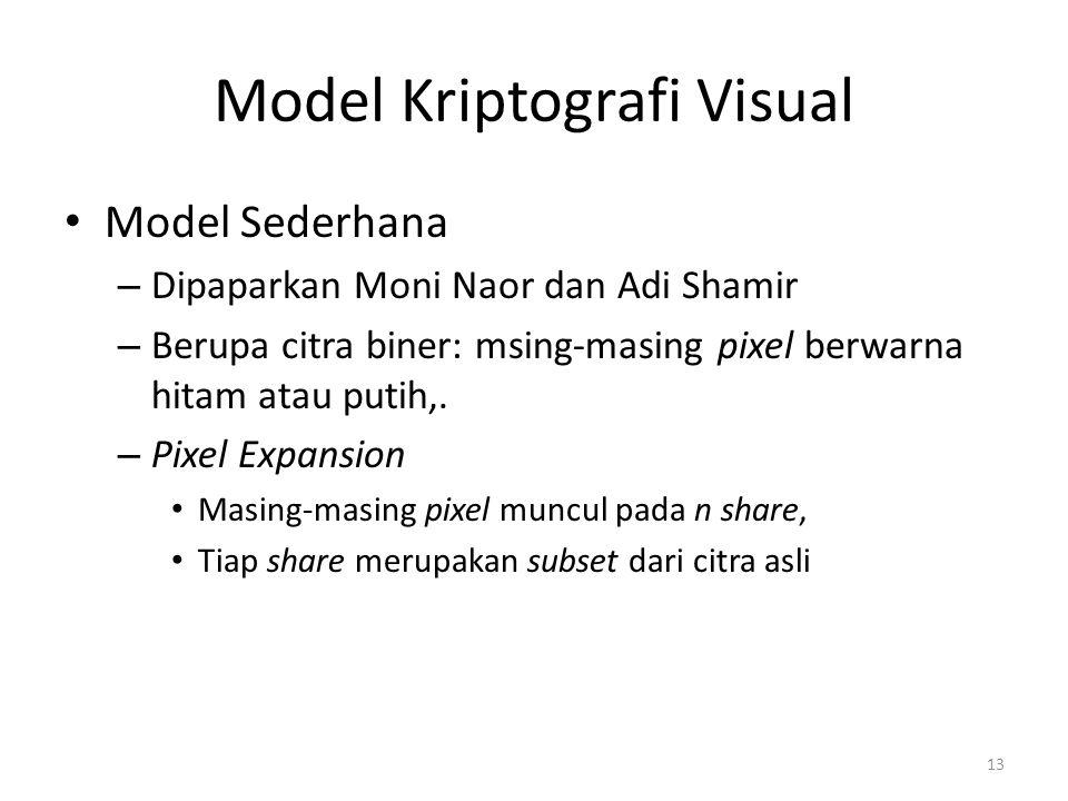 13 Model Kriptografi Visual Model Sederhana – Dipaparkan Moni Naor dan Adi Shamir – Berupa citra biner: msing-masing pixel berwarna hitam atau putih,.