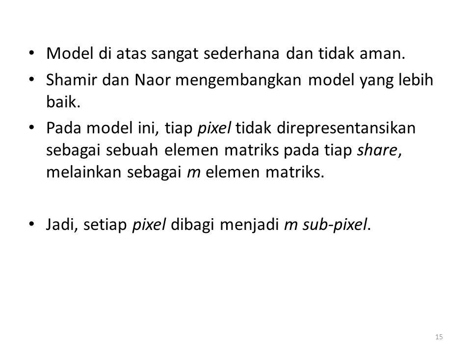15 Model di atas sangat sederhana dan tidak aman. Shamir dan Naor mengembangkan model yang lebih baik. Pada model ini, tiap pixel tidak direpresentans