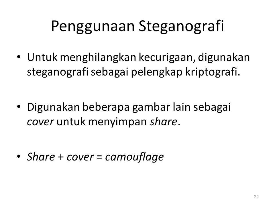 24 Penggunaan Steganografi Untuk menghilangkan kecurigaan, digunakan steganografi sebagai pelengkap kriptografi. Digunakan beberapa gambar lain sebaga