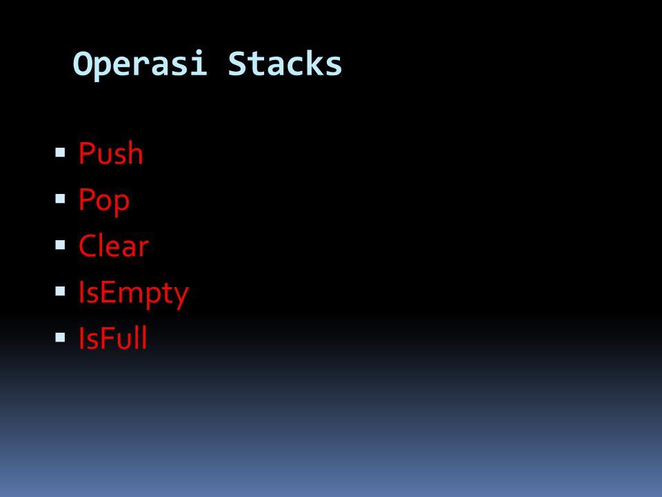 Static Stack (Array) typedef struct STACK{ int top; char data[10][10]; }; Deklarasi: STACK tumpuk;