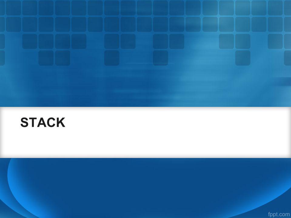 Program Stack (7) void push(char d){ tumpuk.top++; tumpuk.data[tumpuk.top]=d; }