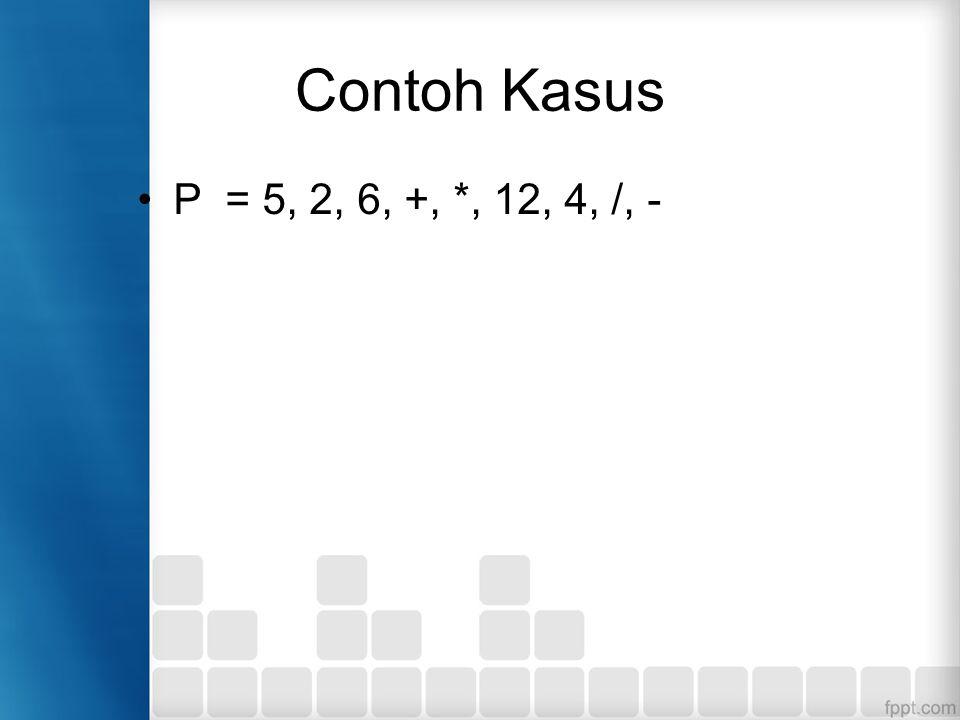 Contoh Kasus P = 5, 2, 6, +, *, 12, 4, /, -