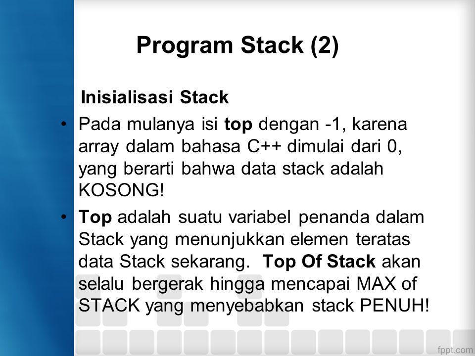 Program Stack (2) Inisialisasi Stack Pada mulanya isi top dengan -1, karena array dalam bahasa C++ dimulai dari 0, yang berarti bahwa data stack adala