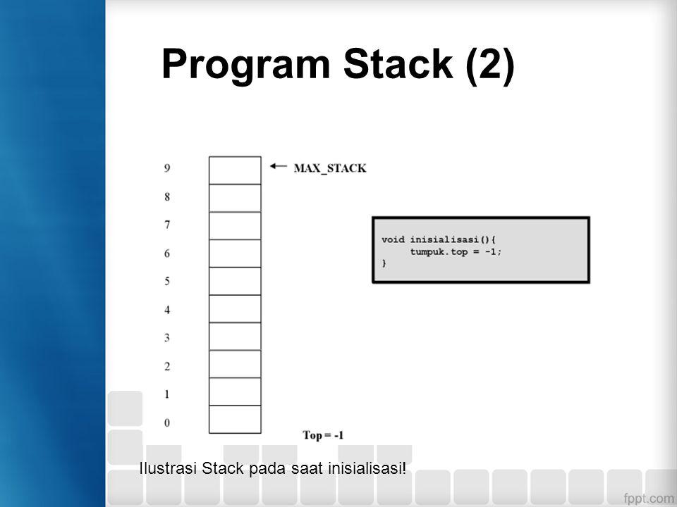 Program Stack (3) Fungsi IsFull Untuk memeriksa apakah stack sudah penuh.