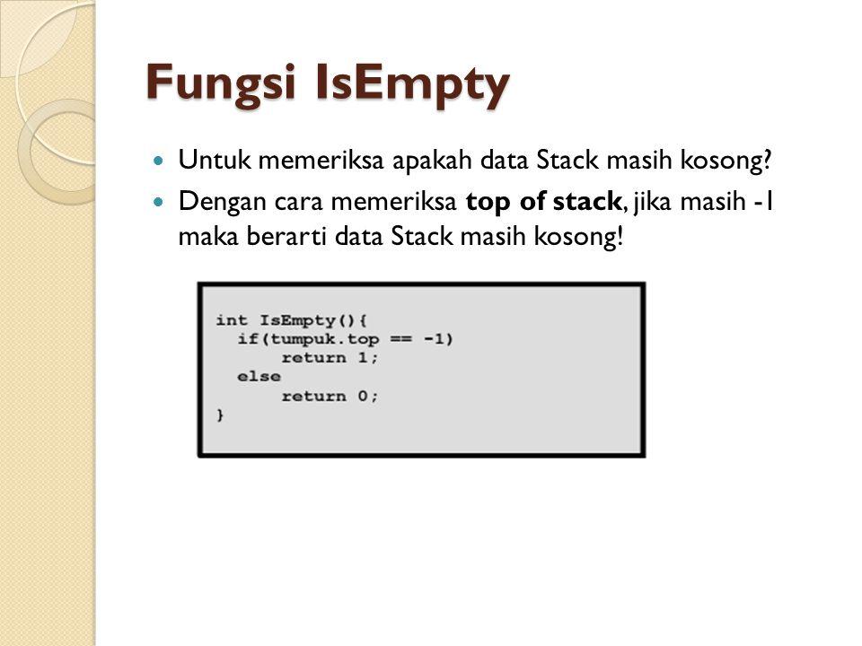Fungsi IsEmpty Untuk memeriksa apakah data Stack masih kosong? Dengan cara memeriksa top of stack, jika masih -1 maka berarti data Stack masih kosong!