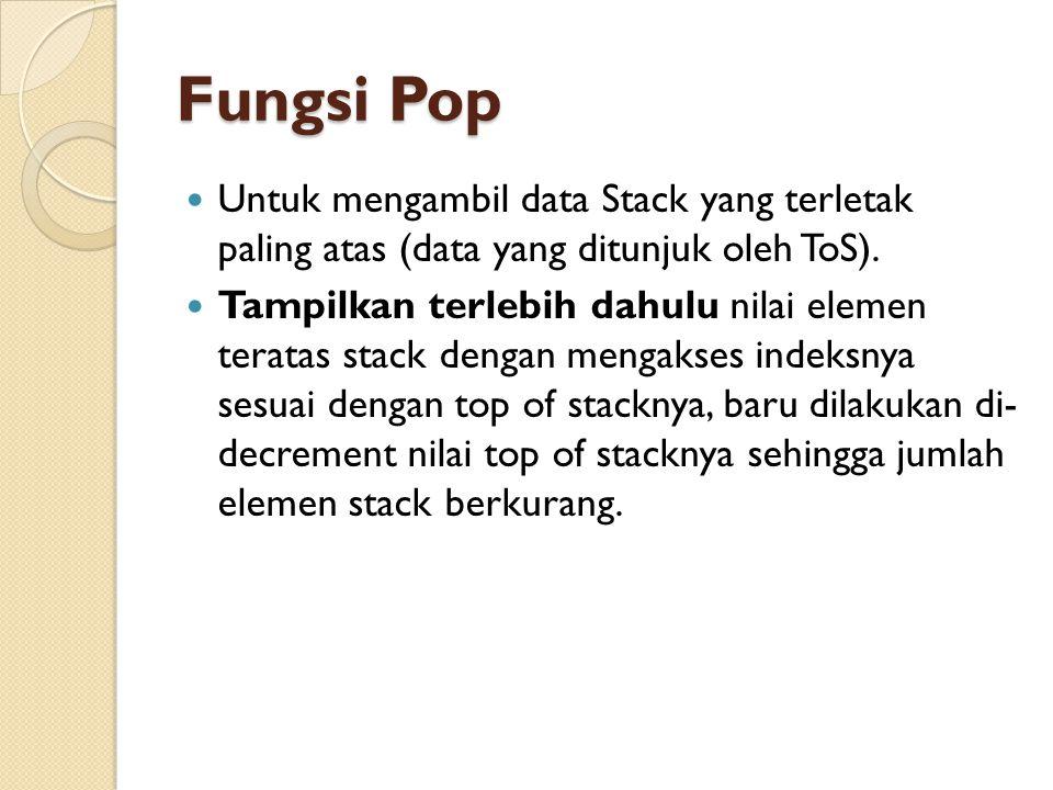 Fungsi Pop Untuk mengambil data Stack yang terletak paling atas (data yang ditunjuk oleh ToS). Tampilkan terlebih dahulu nilai elemen teratas stack de