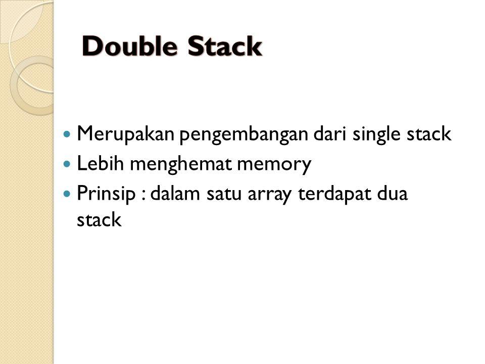 Merupakan pengembangan dari single stack Lebih menghemat memory Prinsip : dalam satu array terdapat dua stack