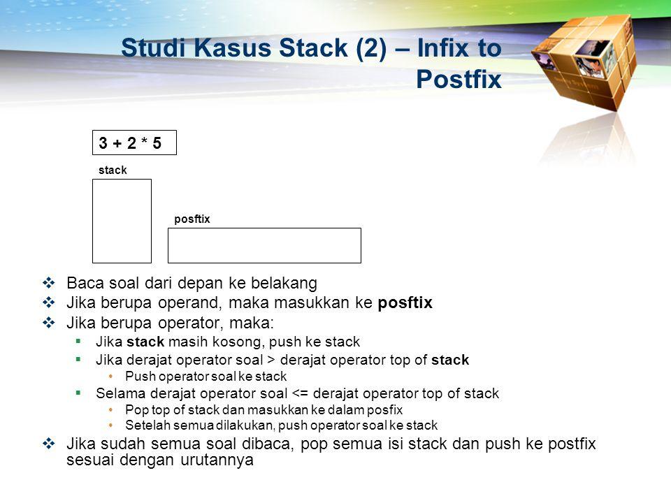 Studi Kasus Stack (2) – Infix to Postfix  Baca soal dari depan ke belakang  Jika berupa operand, maka masukkan ke posftix  Jika berupa operator, ma