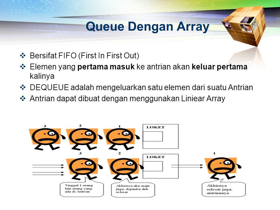 Queue Dengan Array  Bersifat FIFO (First In First Out)  Elemen yang pertama masuk ke antrian akan keluar pertama kalinya  DEQUEUE adalah mengeluark