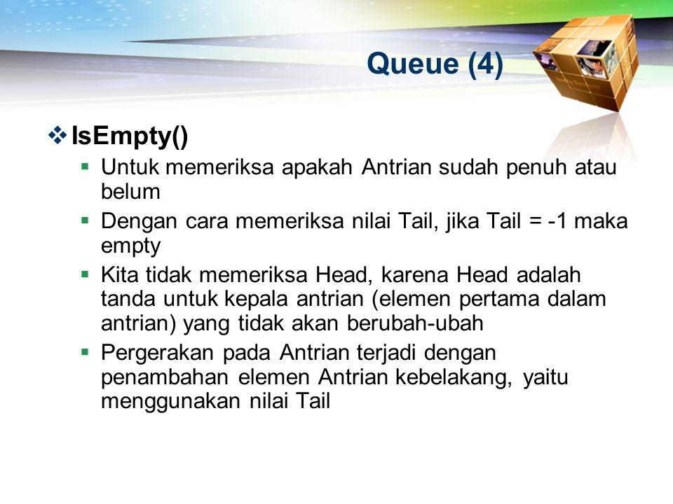 Queue (4)  IsEmpty()  Untuk memeriksa apakah Antrian sudah penuh atau belum  Dengan cara memeriksa nilai Tail, jika Tail = -1 maka empty  Kita tid