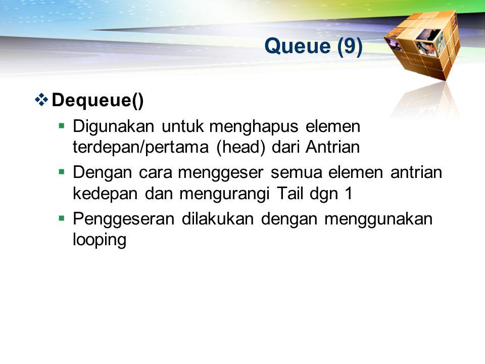 Queue (9)  Dequeue()  Digunakan untuk menghapus elemen terdepan/pertama (head) dari Antrian  Dengan cara menggeser semua elemen antrian kedepan dan