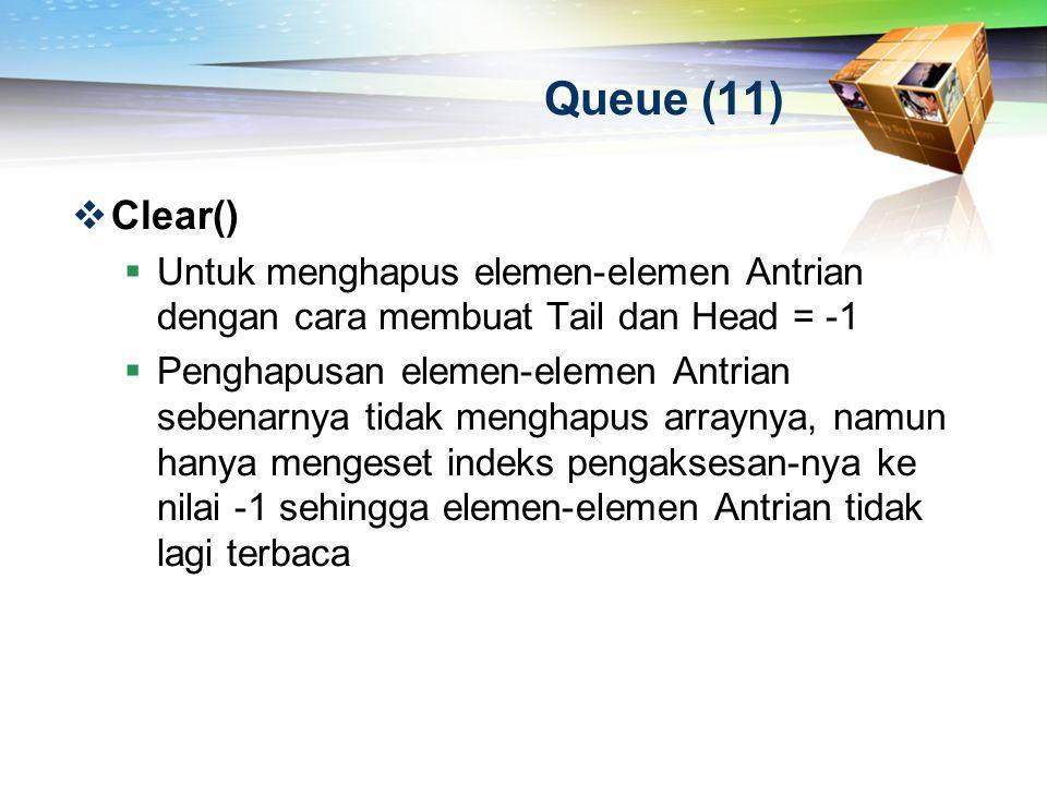 Queue (11)  Clear()  Untuk menghapus elemen-elemen Antrian dengan cara membuat Tail dan Head = -1  Penghapusan elemen-elemen Antrian sebenarnya tid
