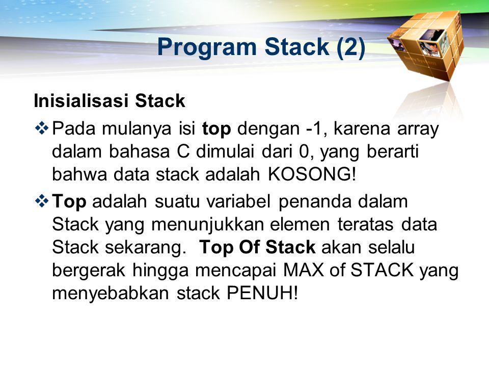 Program Stack (2) Inisialisasi Stack  Pada mulanya isi top dengan -1, karena array dalam bahasa C dimulai dari 0, yang berarti bahwa data stack adala