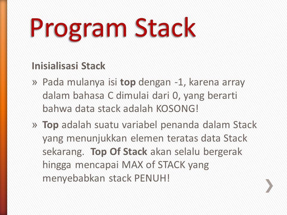 Inisialisasi Stack » Pada mulanya isi top dengan -1, karena array dalam bahasa C dimulai dari 0, yang berarti bahwa data stack adalah KOSONG! » Top ad