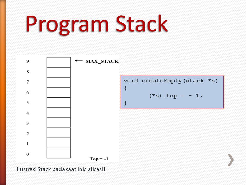Ilustrasi Stack pada saat inisialisasi! void createEmpty(stack *s) { (*s).top = - 1; }