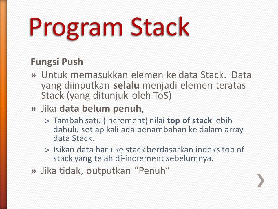 Fungsi Push » Untuk memasukkan elemen ke data Stack. Data yang diinputkan selalu menjadi elemen teratas Stack (yang ditunjuk oleh ToS) » Jika data bel