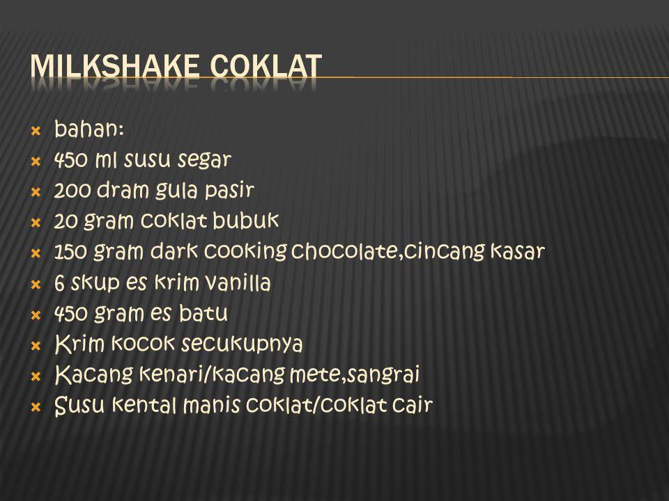  bahan:  450 ml susu segar  200 dram gula pasir  20 gram coklat bubuk  150 gram dark cooking chocolate,cincang kasar  6 skup es krim vanilla  4